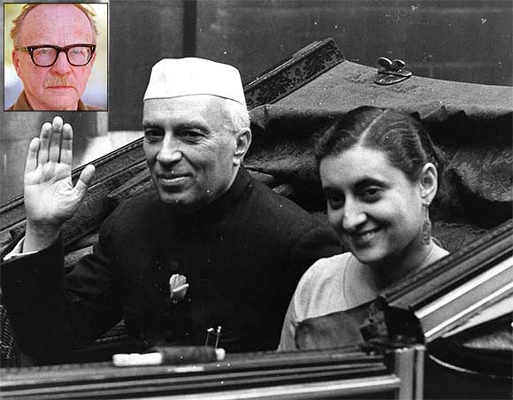 Archive image of Jawaharlal Nehru with his daughter Indira Gandhi (Inset) Jan Myrdal