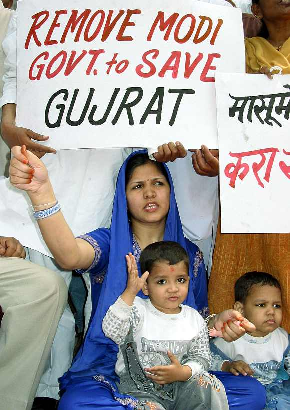 A protest against Gujarat Chief Minister Narendra Modi on April 13, 2002