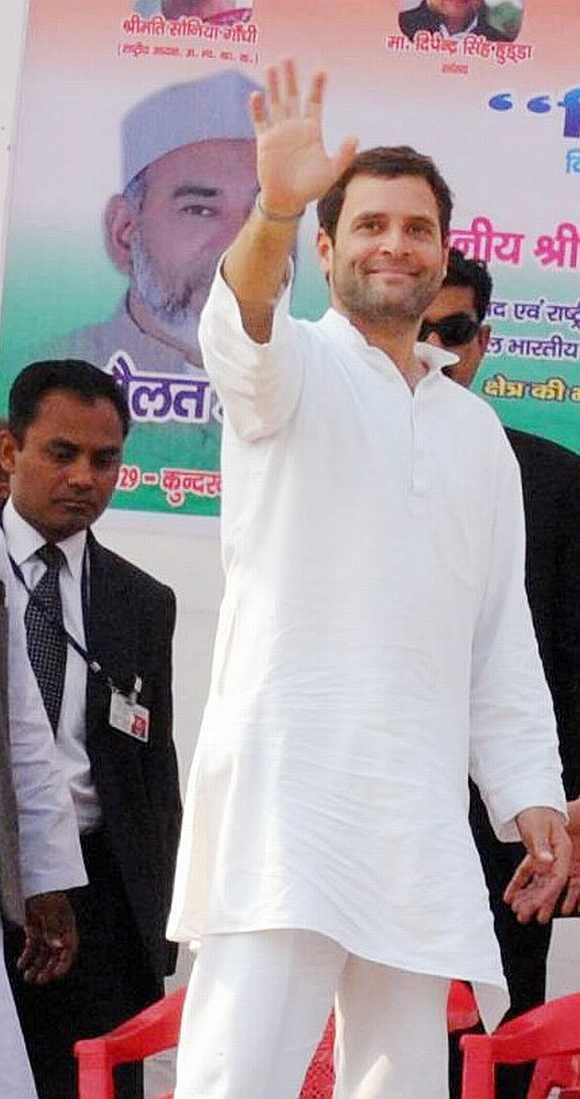 Rahul Gandhi at a huge election rally in Charthawal in Muzaffarnagar
