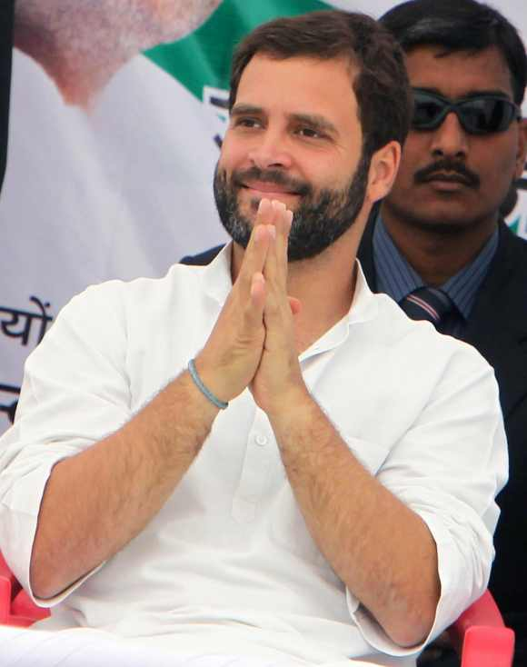 Rahul Gandhi at a mammoth election rally in Rae Bareli