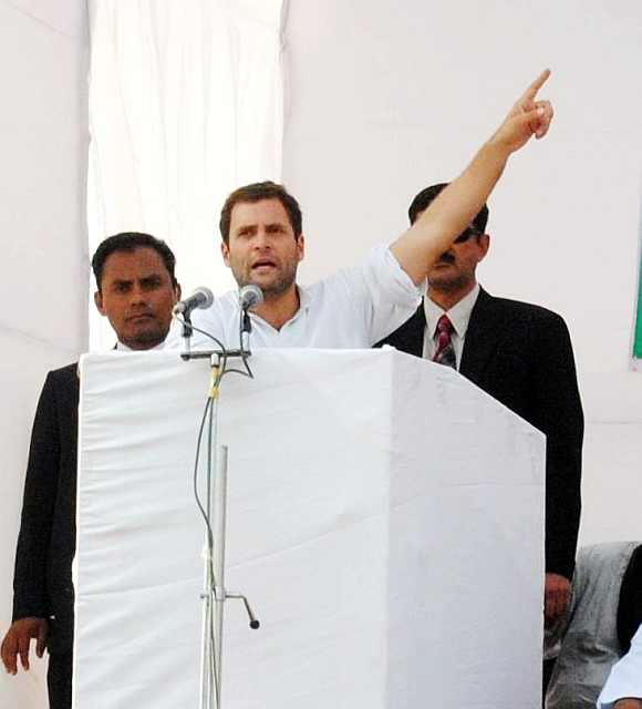 Congress General Secretary Rahul Gandhi addresses a huge election rally in Charthawal in Muzaffarnagar as part of his campaign in Uttar Pradesh