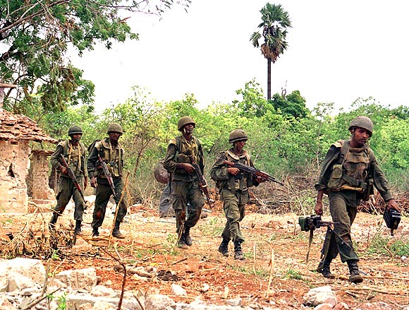 A file photo of Sri Lankan soldiers patrolling in northern Jaffna