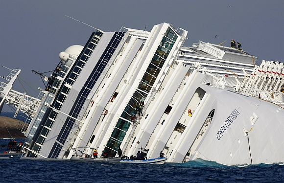 The cruise liner Costa Concordia, which ran aground off the west coast of Italy on January 13, 2012
