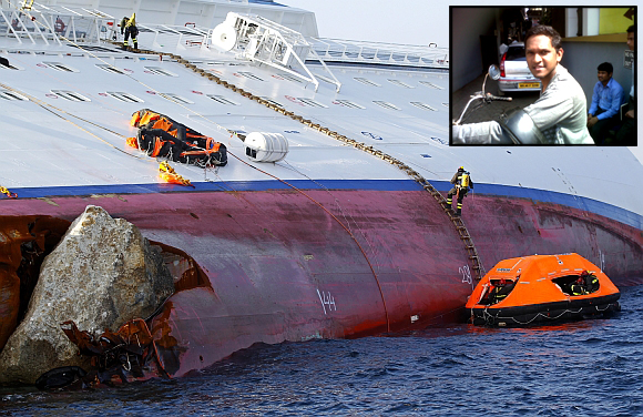 Rescue workers on the capsized Costa Concordia. Inset: Mayur Kadam