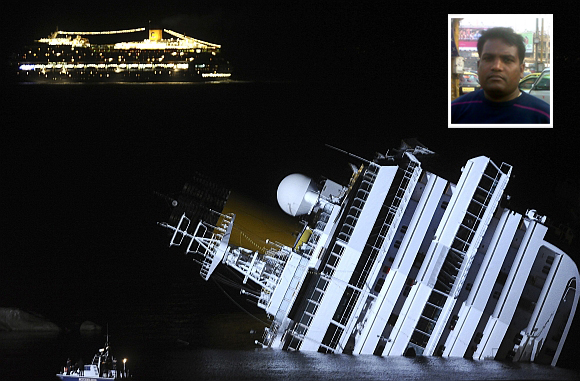 The Costa Serena sails by as its sister ship, the Costa Concordia, lies on its side. Inset: Ravi Kumar