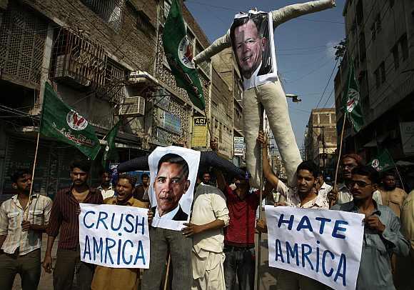 An anti-American rally in Hyderabad, Pakistan