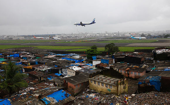 Slums bordering Mumbai airport