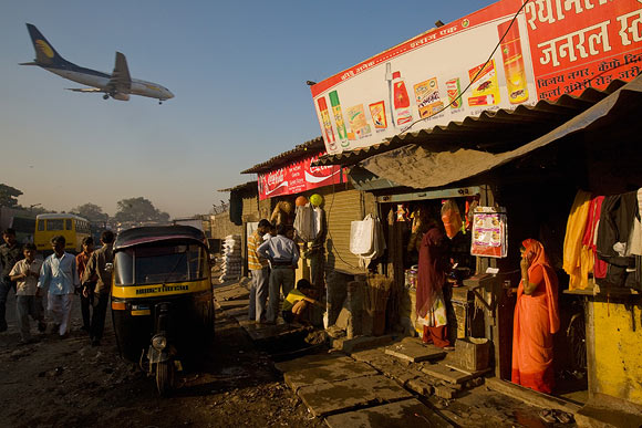 Slums border Mumbai airport