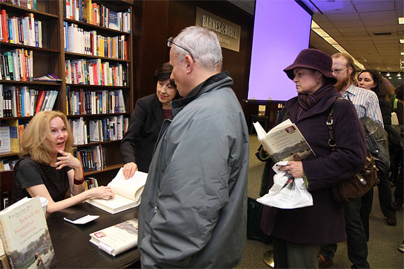 Katherine Boo promotes her book, Beyond The Beautiful Forevers, at a Barnes & Noble bookshop in Manha