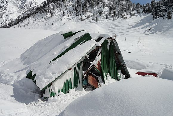 An army camp damaged by the avalanche at Sonamarg on Monday