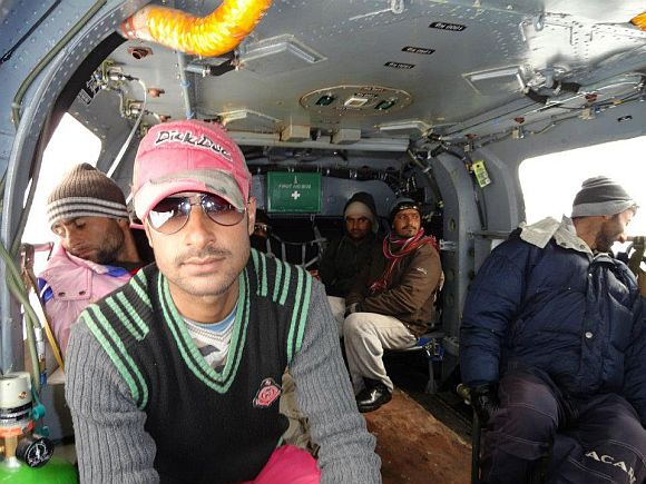 Civilians being evacuated to safer areas in an army helicopter after they were rescued from the avalanche-hit Sonamarg