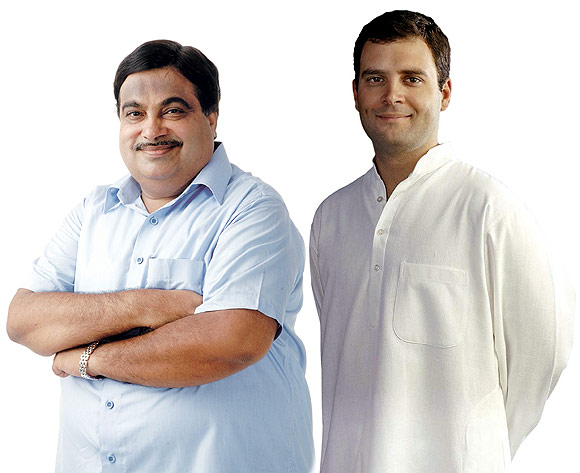 BJP chief Nitin Gadkari vs Congress's anointed heir, Rahul Gandhi