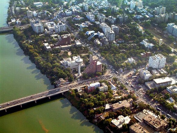 Aerial view of the city of Ahmedabad