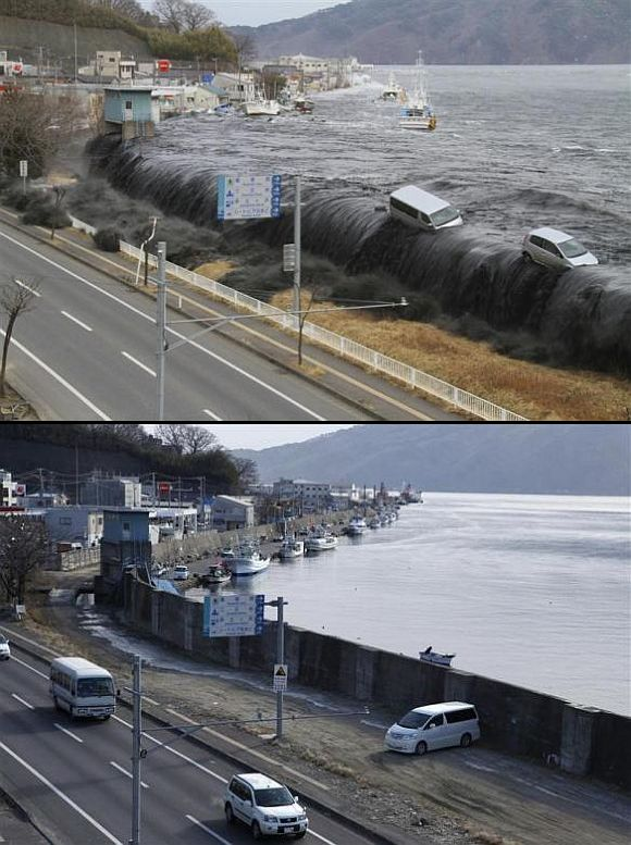 (Above) A wave from the tsunami crashes over a seawall in Miyako, Iwate Prefecture, March 11. (Below) The seawall today
