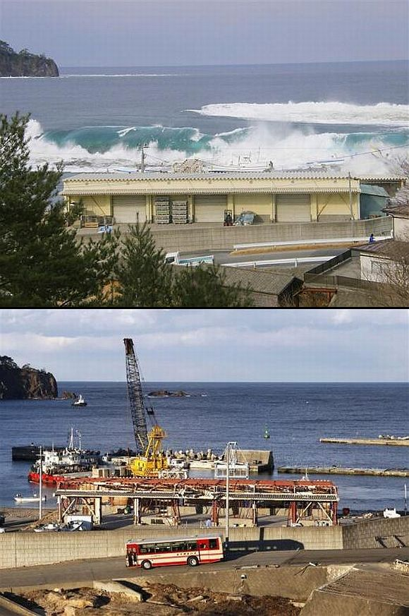 (Above) A wave from the tsunami crashes over a fishing port in Miyako, Iwate Prefecture (Below) The fishing port today