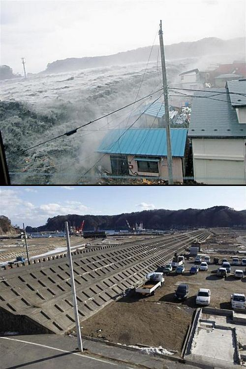 (Above) A wave from the tsunami crashes over a seawall in Miyako, Iwate Prefecture (Below) The seawall today
