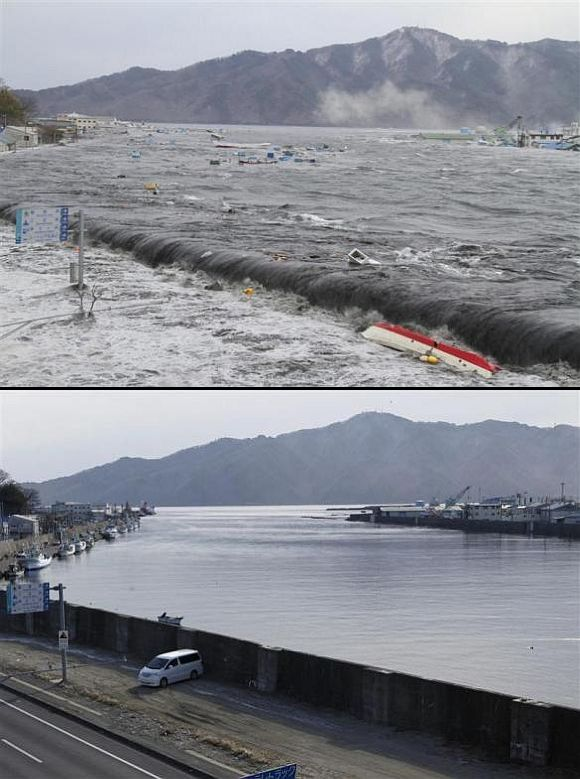 (Above) A wave from the tsunami crashes over a street in Miyako, Iwate Prefecture (Below) The street and seawall today