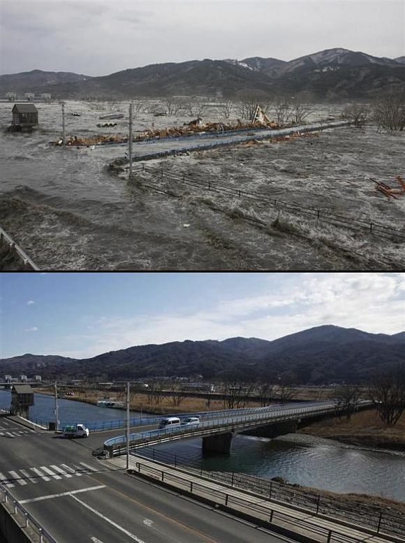 (Above) A wave from the tsunami flows over a street and a bridge in Miyako, Iwate Prefecture (Below) The bridge and street today