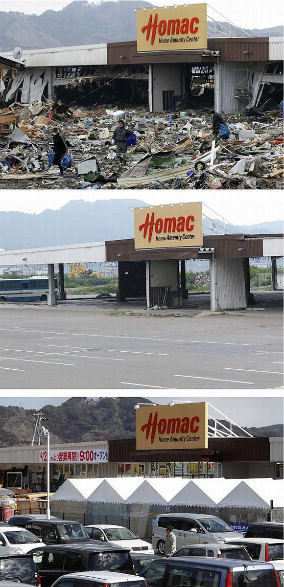 A combination photograph shows the same location in Otsuchi, Iwate Prefecture, northeastern Japan on three different dates, March 15, 2011 (top), August 13, 2011 (centre) and February 18, 2012 (bottom). The top photograph shows a shop destroyed by the magnitude 9.0 earthquake and tsunami, the middle photograph shows the area around the shop after it was cleared of debris, and the bottom photograph shows the shop trading again in the same location almost a year later. The shop had reopened December 22, 2011.