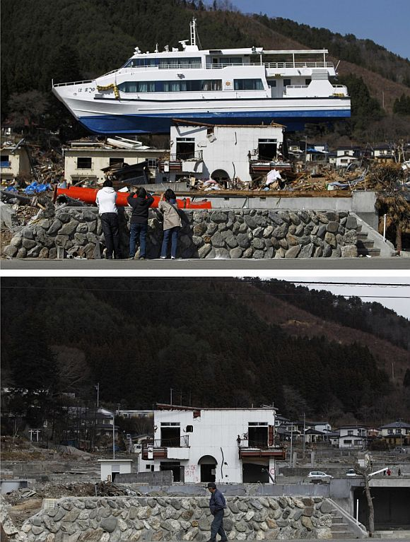 A combination photograph shows the same location in Otsuchi, Iwate Prefecture, northeastern Japan on two different dates, April 17, 2011 (top) and February 18, 2012 (bottom). The top photograph shows people taking pictures of a ship that was washed onto a building by the magnitude 9.0 earthquake and tsunami, the bottom photograph shows the same location almost a year later.