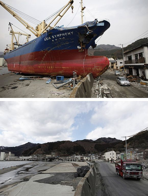 A combination photograph shows the same location at a fishing port in Kamaishi, Iwate prefecture on two different dates, April 11, 2011 (top) and February 18, 2012. The top photograph shows vehicles driving past the Asia Symphony cargo ship, swept ashore by the magnitude 9.0 earthquake and tsunami, the bottom photograph shows the same location almost a year later.