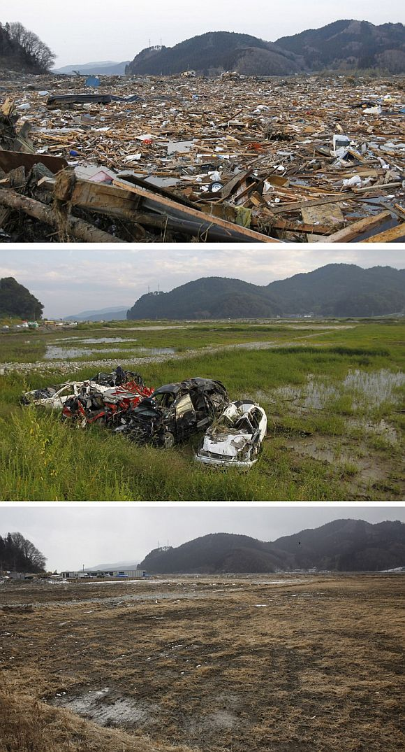 A combination photograph shows the same location in Rikuzentakata, northern Japan on three different dates, March 13, 2011 (top), September 9, 2011 (centre) and February 19, 2012 (bottom). The top photograph shows the devastation as rescue workers search for victims in the rubble after the magnitude 9.0 earthquake and tsunami, the centre photograph shows damaged cars, and the bottom photograph show the same location almost a year later.