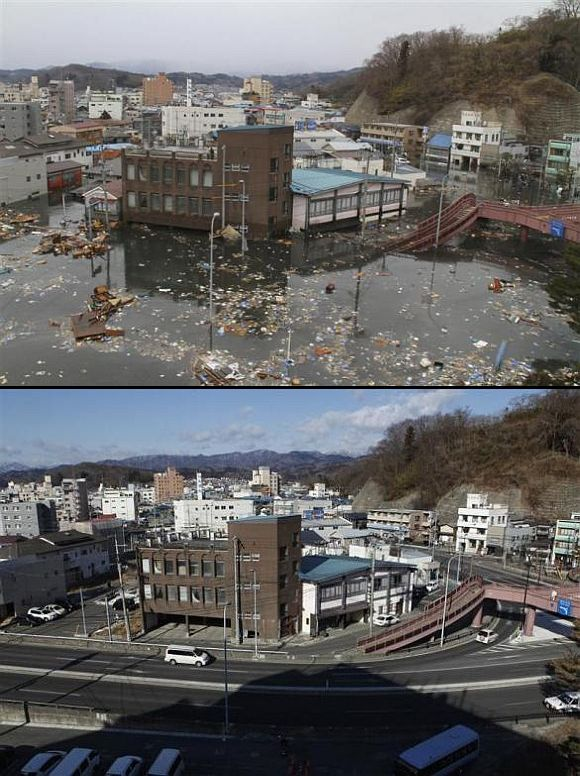 (Above) Streets flooded after the tsunami in Miyako, Iwate Prefecture. (Below) The area today