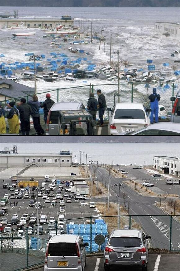 (Above) A tsunami wave crashes over a fishing port in Miyako, Iwate Prefecture (Below) The fishing port today