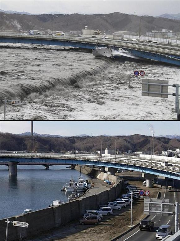 (Above) A wave from the tsunami flows over a street in Miyako, Iwate Prefecture (Below) A seawall and street today