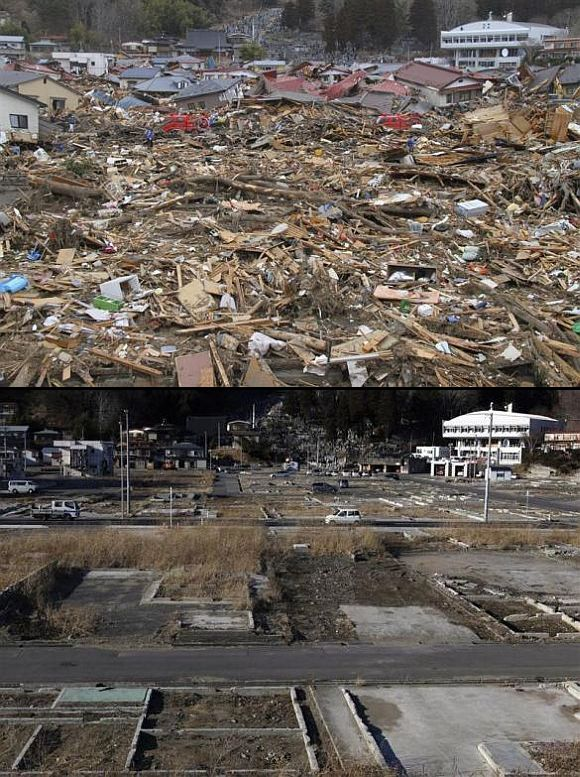 (Above) An area of devastation in Miyako, Iwate Prefecture, the day the tsunami hit (Below) The area today