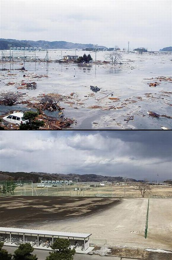 (Above) A wave from the tsunami crashes over school grounds in Miyako, Iwate Prefecture (Below) The school grounds today