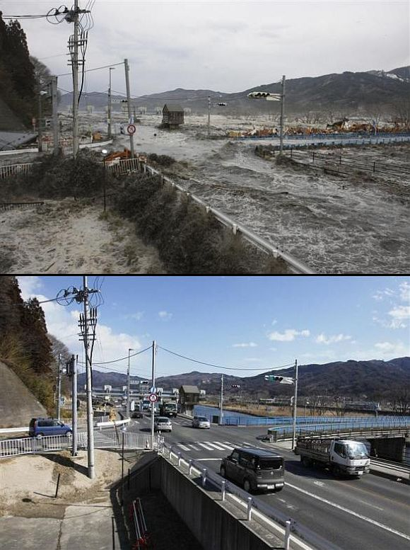 (Above) A wave from the tsunami flows over a street and bridge in Miyako, Iwate Prefecture (Below) The street and bridge today