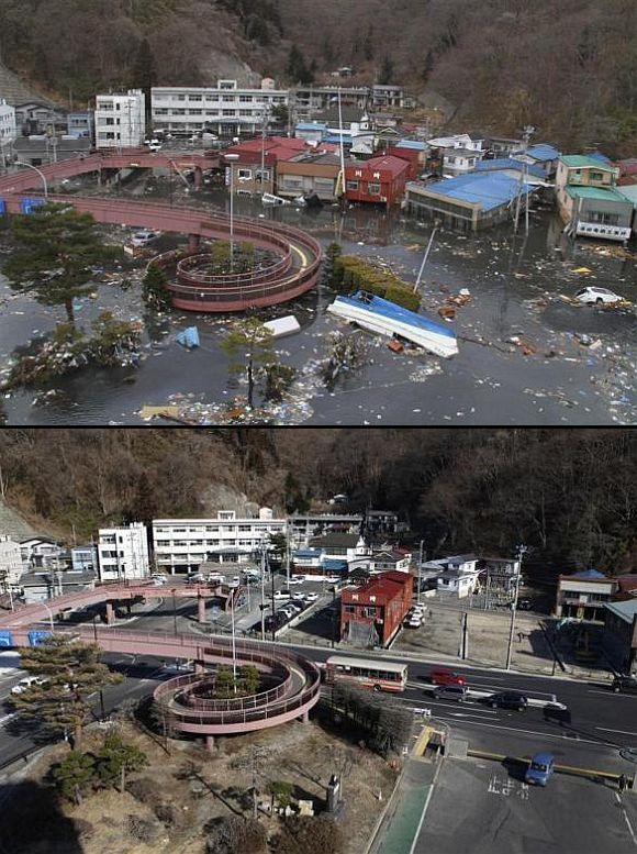 (Above) Streets flooded after the tsunami struck in Miyako, Iwate Prefecture (Below) The area today
