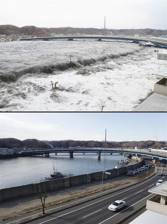 (Above) A wave from the tsunami flows over a street in Miyako, Iwate Prefecture (Below) The street and seawall today