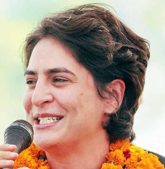 Priyanka Gandhi addresses Congress supporters during an election rally in Rae Bareli