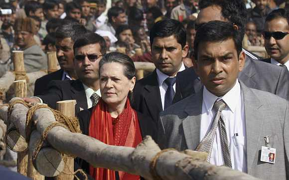 Congress President Sonia Gandhi at a rally in Uttar Pradesh