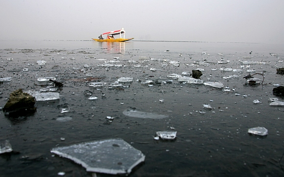 The frozen Dal lake