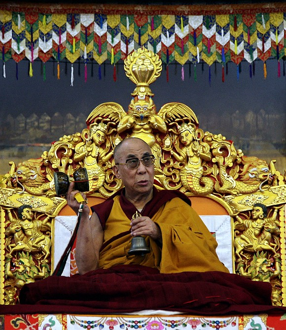 Tibetan spiritual leader the Dalai Lama speaks during a teaching session on the first day of the Kalachakra festival in Bodhgaya