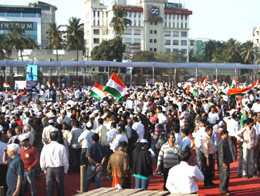 A rally in support of the Lokpal Bill