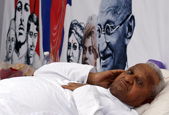 Anna Hazare rests during his fast unto death campaign in New Delhi on April 6, 2011.