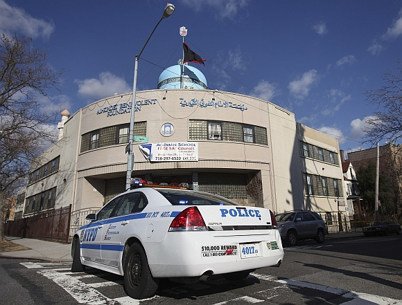 The Imam Al-Khoei Foundation, a Shiite organisation that was hit with a firebomb on Sunday night is seen in the Queens borough of New York