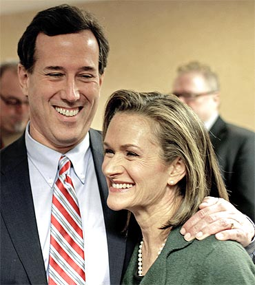 Republican presidential candidate and former Senator Rick Santorum with his wife Karen Garver Santorum