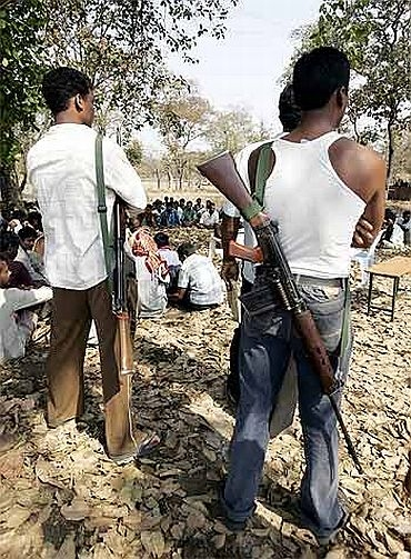 Members of the Salwa Judum in Gudma village, about 450 km south of Raipur