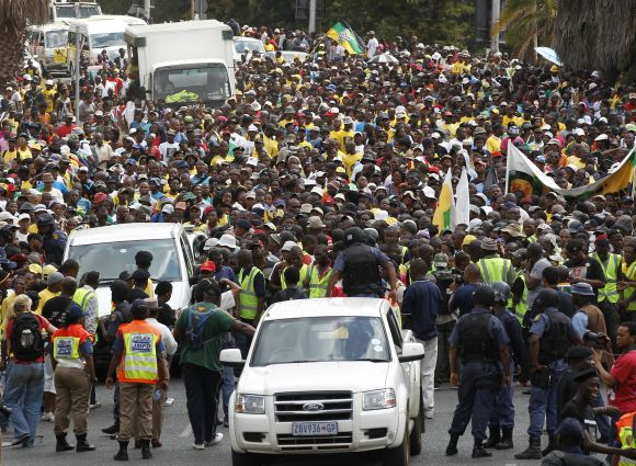 African National Congress Youth League supporters take part in a march in Johannesburg