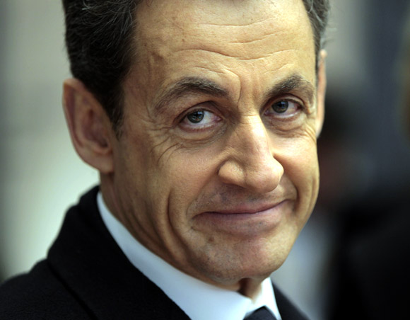 France's President Nicolas Sarkozy visits a security headquarters in Metz