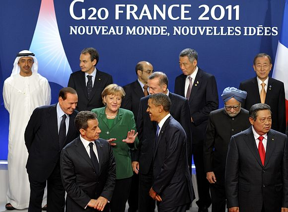 PM Singh with other global leaders at the G20 Summit of major world economies at Cannes in France on November 3, 2011