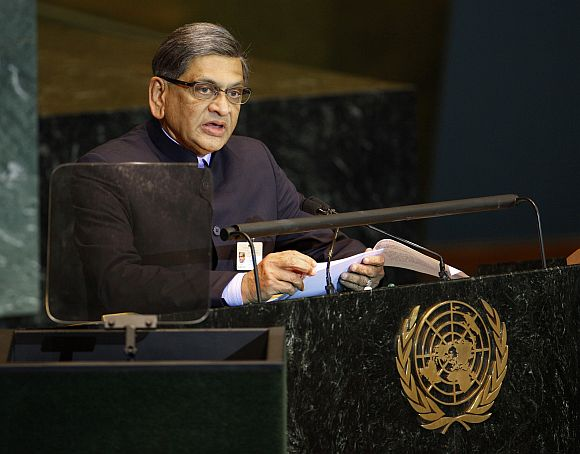 File picture of Foreign Minister S M Krishna addressing the UN General Assembly in New York