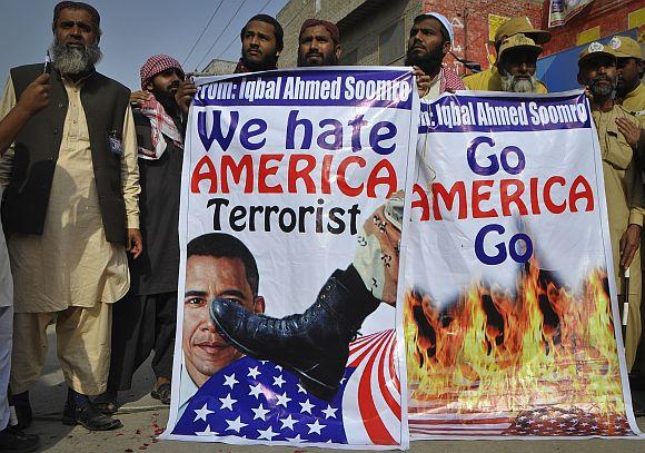 An anti-American and anti-NATO demonstration in Larkana, Pakistan