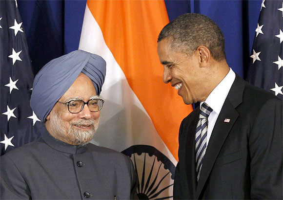 A file photograph of US President Barack Obama with Prime Minister Manmohan Singh