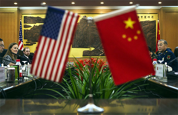 The flags of China and the US